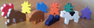 animal and cowboy meeples